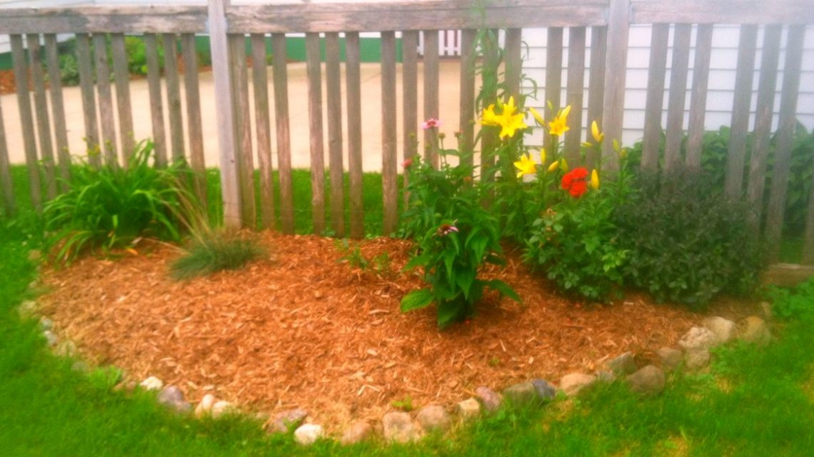 Backyard, size bed mulched